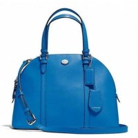 Coach Peyton Leather Cora Domed Satchel 25671 Ceru