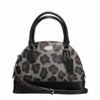 Coach Mini Cora Domed Satchel Ocelot Print Coated