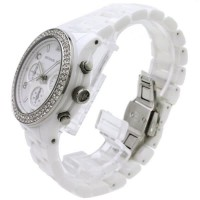 Women's White Ceramic Link Bracelet Quartz Chronog