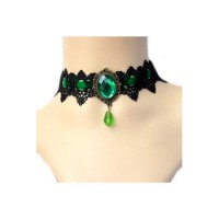 Vintage Green Sapphire French Lace short Necklace