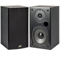 Polk Audio T-15 Bookshelf Speakers, Pair, Black